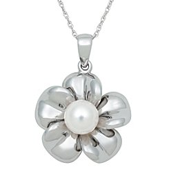 .925 Sterling Silver Freshwater Pearl Flower Pendant - White