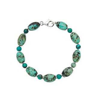 .925 Sterling Silver & Turquoise Round Bracelet