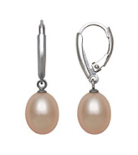 .925 Sterling Silver & Freshwater Pearl Drop Earrings - Pink