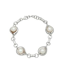 .925 Sterling Silver Freshwater Pearl Button Bracelet