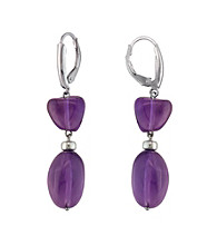 .925 Sterling Silver Amethyst Earrings