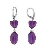 .925 Sterling Silver Amethyst Earrings