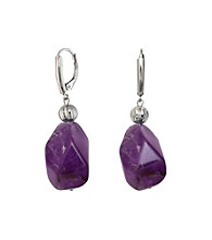 .925 Sterling Silver Amethyst Stone Earrings