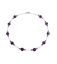 Sterling Silver Necklace with Amethyst Accents - Purple