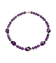 .925 Sterling Silver Amethyst Nugget Necklace - Purple