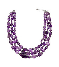 .925 Sterling Silver 3-Row Amethyst Necklace - Purple