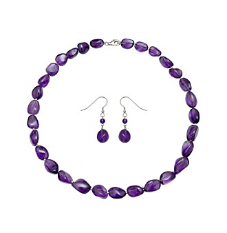 Long on colorful style, this purple amethyst jewelry set makes a great accent to perk up any look.