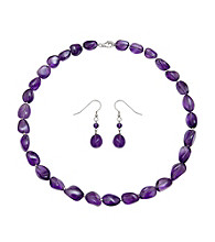 .925 Sterling Silver Amethyst Necklace/Earring Set