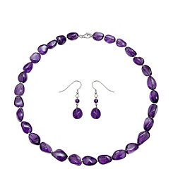 .925 Sterling Silver Amethyst Necklace/Earring Set