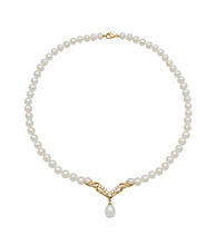 18K Gold-Over-Sterling Silver Freshwater Pearl & Topaz Accent Necklace