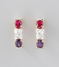 18K Gold-Over-Sterling Silver Amethyst, Created Ruby, & Diamond Accent Earrings