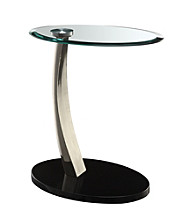Powell® Brushed Chrome Oval Chairside Table
