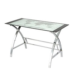 Powell® World Map Curved X-Sided Computer Desk