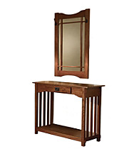 Powell® Console & Mirror - Mission Oak