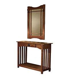Powell® Console & Mirror - Mission Oak