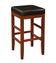 Powell® Black Bonded Leather Seat Square Backless Bar Stool - Cherry