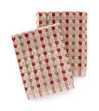 Croscill® Bryan 2-pk. Red & Brown Checkered Dish Cloths