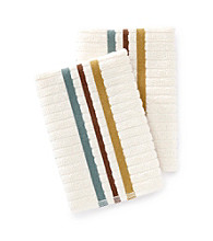 Croscill® Taylor 2-pk. Aqua & Brown Striped Dish Cloths