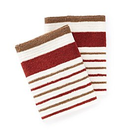 Croscill® Gaston 2-pk. Red & Brown Striped Dish Cloths
