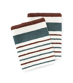 Croscill® Gaston 2-pk. Aqua & Brown Striped Dish Cloths