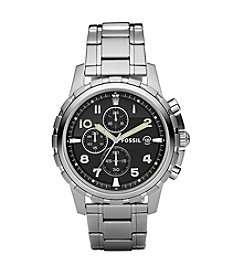Fossil® Dean Stainless Steel Black Dial Watch - Silvertone