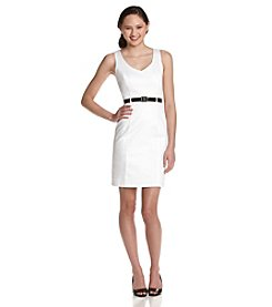 A. Byer Juniors' Belted V-Neck Sheath  - White
