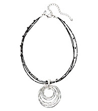 Laura Ashley® Layered Circle Pendant Necklace - Jet/Silvertone