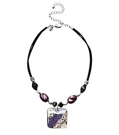 Laura Ashley® Square Pendant Necklace - Black/Purple/Silvertone