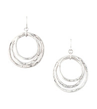 Laura Ashley® Layered Circle Drop Earrings - Silvertone