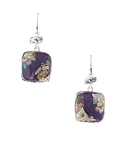 Laura Ashley® Square Drop Earrings - Silvertone