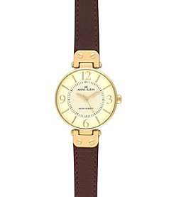Anne Klein® Modern Leather Strap Watch - Brown