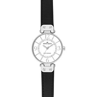 Anne Klein® Modern Leather Strap Watch - Black