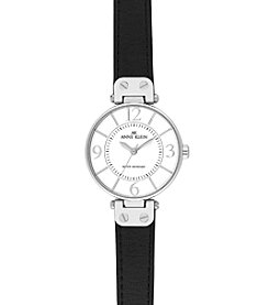 Anne Klein® Modern Leather Strap Watch - Black