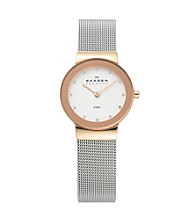 Skagen Denmark Women's Rose Gold and Silver Steel Watch