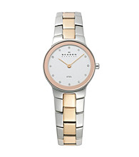 Skagen Denmark Women's Silver and Rose Gold Link Watch