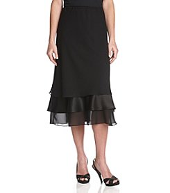 Alex Evenings® Tea Length Satin Chiffon Triple Tier Hem Skirt - Black