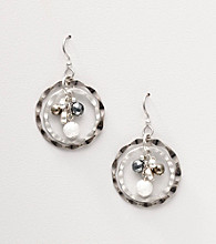 Silver Forest® Hammered Circle Bead Center Earrings