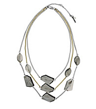 Kenneth Cole® Faceted Bead Illusion Necklace - Taupe/Silvertone