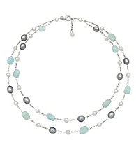 Sterling Silver Stone Pearl Double Necklace - White/Gray/Blue