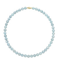 Sterling Silver Round Necklace - Aquamarine
