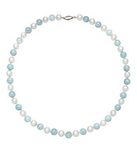 Sterling Silver Freshwater Pearl Necklace - Aquamarine