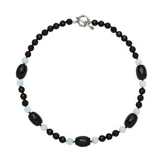 Sterling Silver Onyx Aquamarine Necklace - Black/Blue