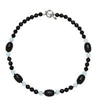 Sterling Silver Onyx Aquamarine Necklace - Black/Blue