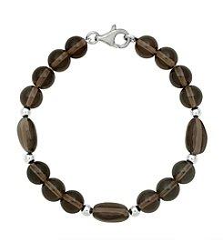 Sterling Silver Baroque Round Stone Bracelet - Smoky Quartz