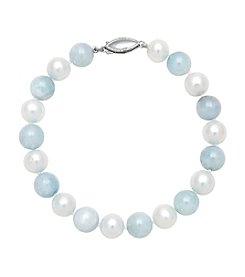 Sterling Silver Freshwater Pearl Bracelet - Aquamarine