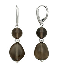 Sterling Silver Baroque Earrings - Smoky Quartz