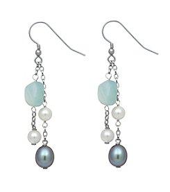 Sterling Silver Freshwater Pearl Aquamarine Stone Earrings