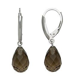 Sterling Silver Faceted Stone Earrings - Smoky Quartz