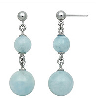 Sterling Silver Round Aquamarine Earrings