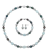 Sterling Silver Jewelry Set - Freshwater Pearl/Aquamarine